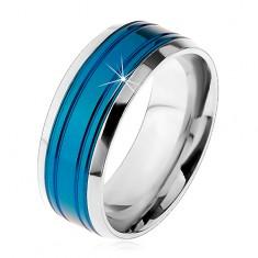 Verighetă oțel chirurgical, bandă albastră, margini argintii, crestături, 8 mm