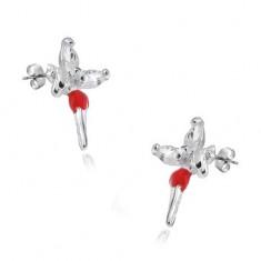 Cercei cu șurub - argint 925, zână cu fustiță roșie și zirconii pe aripi