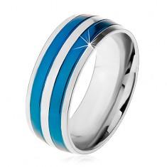 Inel-verighetă din oțel, în două culori, linii fine albastre și argintii, crestături, 8 mm