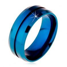 Inel albastru din oțel chirurgical, crestătură îngustă pe mijloc, margini teșite, 8 mm