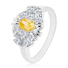 Inel cu brațe netede, lucioase, zirconiu oval galben, zirconii transparente