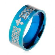 Verighetă strălucitoare realizată din oțel 316L, de culoare albastră, simboluri celtice și cruce, 8 mm