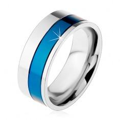 Inel realizat din oțel chirurgical, benzi de culoare albastru și argintiu, 8 mm