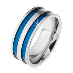 Inel din oțel de culoare argintie, benzi subțiri sculptate, de culoare albastră, 8 mm