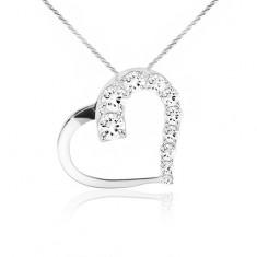 Colier din argint 925, lanţ, contur de inimă, ştrasuri transparente