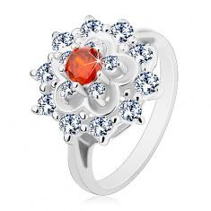 Inel de culoare argintie, floare mare transparentă cu centru portocaliu