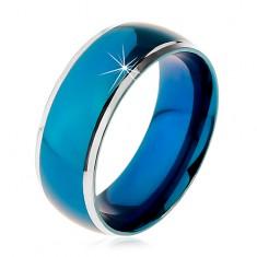 Inel realizat din oțel chirurgical, bandă albastră rotunjită, margini de culoare argintie, 8 mm