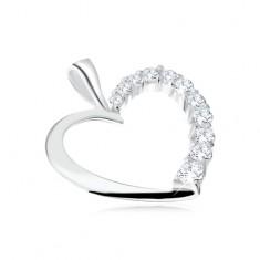Pandantiv realizat din argint 925 - contur cu o jumătate de inimă cu zirconii transparente