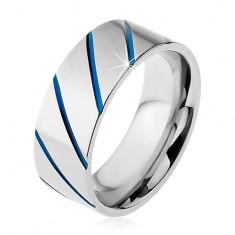 Inel realizat din oțel 316L de culoare argintie, linii diagonale albastre, 8 mm