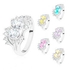 Inel argintiu, brațe îndoite, zirconii strălucitoare colorate și transparente