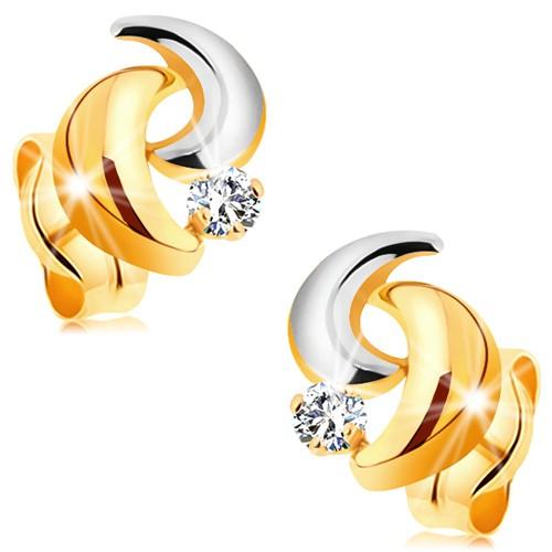Bijuterii eshop - Cercei din aur 585 - arce bicolore și zirconiu rotund, transparent GG177.33