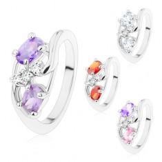 Inel argintiu, brațe subțiri îndoite, ovaluri colorate, zirconii transparente