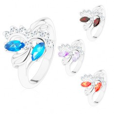 Inel argintiu cu brațe lucioase, bobițe șlefuite, zirconii transparente