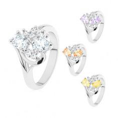 Inel cu brațe ușor îndoite, ovaluri șlefuite și zirconii transparente