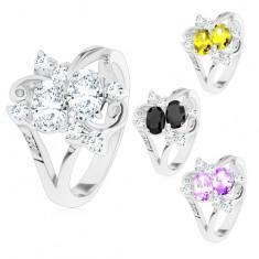 Inel argintiu, două ovaluri șlefuite colorate, zirconii transparente