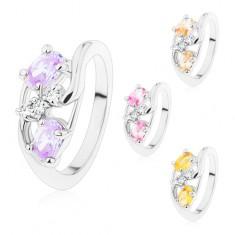 Inel cu braţe ondulate, ovaluri mari colorate, zirconii transparente