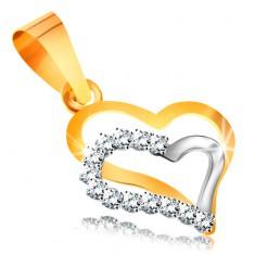 Pandantiv din aur 14K - două contururi de inimi din aur alb şi galben, zirconii