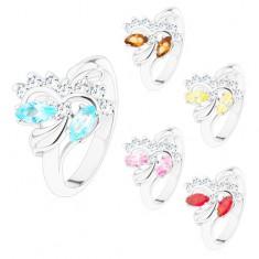 Inel argintiu, bobiţe colorate şlefuite şi zirconii rotunde transparente