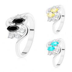 Inel argintiu cu brațe ondulate, bobițe colorate și zirconii transparente