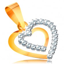 Pandantiv realizat din aur galben de 14K - contur dublu inimă simetrică cu zirconii