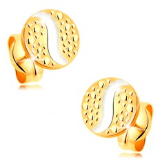 Cercei cu șurub realizați din aur 585 - cerc mic cu linie ondulată realizată din aur alb și buline