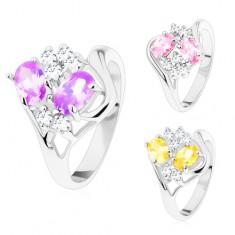 Inel cu brațe lucioase și despicate, ovaluri colorate, zirconii transparente
