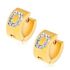 Cercei aurii din oţel 316L, litera D încrustată cu zirconii transparente
