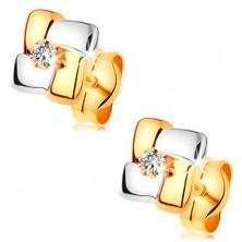 Cercei din aur 585 - pătrat compus din fâșii în două culori, diamant rotund transparent în mijloc