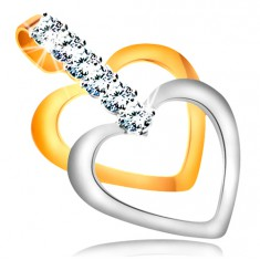 Pandantiv bicolor din aur 14K - contururi subțiri de inimi simetrice, linie din zirconii transparente