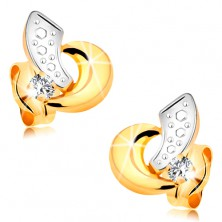 Cercei din aur 585 - arce bicolore şi diamant transparent strălucitor