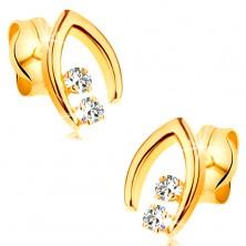 Cercei din aur galben 14K - potcoavă ascuțită cu două diamante transparente