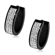 Cercei din oţel 316L ovali, de culoare neagră, bandă de zirconii strălucitoare transparente