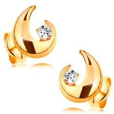 Cercei din aur 14K - diamant transparent şi contur parţial de lacrimă