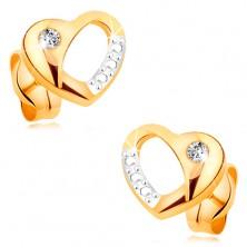 Cercei din aur 14K - inimă bicoloră cu decupaj şi diamant transparent