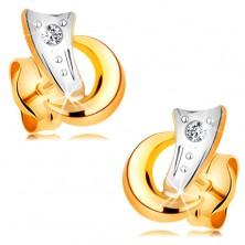 Cercei din combinaţie aur 14K - două arce şi un diamant strălucitor şi transparent