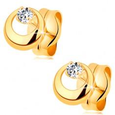 Cercei din aur galben 14K - cerc proeminent cu decupaj și diamant transparent