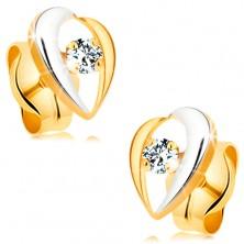 Cercei din aur 14K - linii curbate, bicolore, înconjurând un diamant transparent