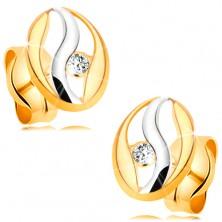 Cercei cu diamant din aur 14K - contur oval cu ondulaţie din aur alb, diamant sclipitor