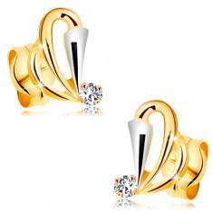 Cercei din aur 585 cu diamant transparent - contururi de lacrimă, triunghi din aur alb