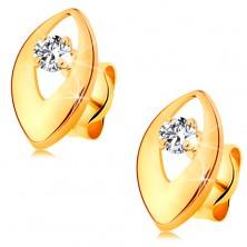 Cercei din aur galben 14K - diamant strălucitor într-o bobiţă lucioasă