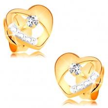 Cercei din aur 14K - inimă simetrică, bicoloră cu decupaj și diamant transparent