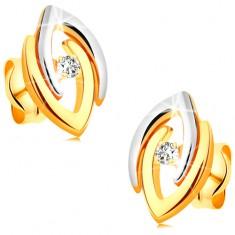 Cercei din aur 14K - potcoave în două culori și diamant transparent strălucitor