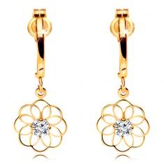 Cercei cu diamant din aur galben 14K - arc lucios și contur de floare cu diamant strălucitor