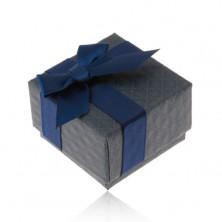 Cutiuță de cadouri pentru inel, pandantiv sau cercei, culoare albastru-închis, fundiță