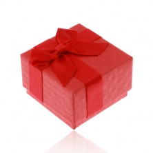 Cutiuță roșie de cadouri pentru inel, pandantiv sau cercei, fundă lucioasă