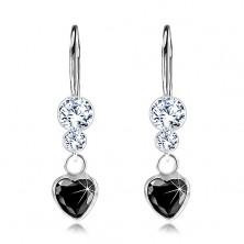 Cercei din argint 925, inimă din zirconiu negru, cristale Swarovski transparente