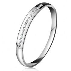 Inel din aur alb 14K - linie strălucitoare din mici diamante transparente