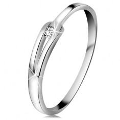 Inel sclipitor din aur alb 14K - diamant transparent strălucitor, brațe înguste despicate