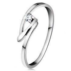 Inel din aur alb 14K cu diamant transparent, brațe îndoite