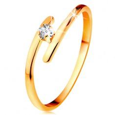 Inel din aur galben 14K - diamant transparent strălucitor, brațe subțiri alungite